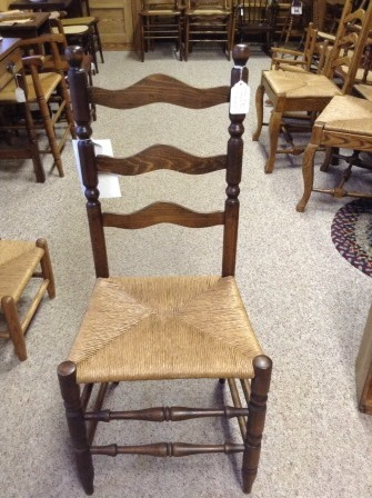 ... C77 Restored Antique Ladderback Chair W/ Rush Seat ...