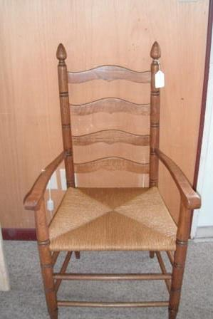 ... Restored Antique Oak Ladderback Arm Chair With Rush Seat   C60 ...